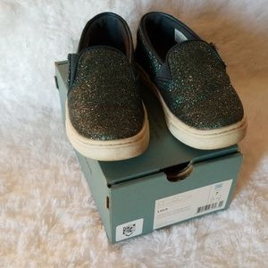 Tom's Luca size 7 blue glitter shoes